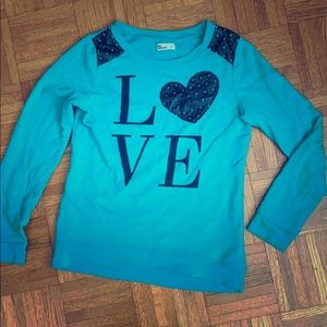 'Love' Sweatshirt w leather trim